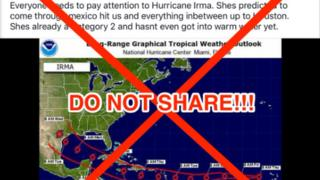 Meteorologists and social media users are issuing warnings about fake hurricane Irma news