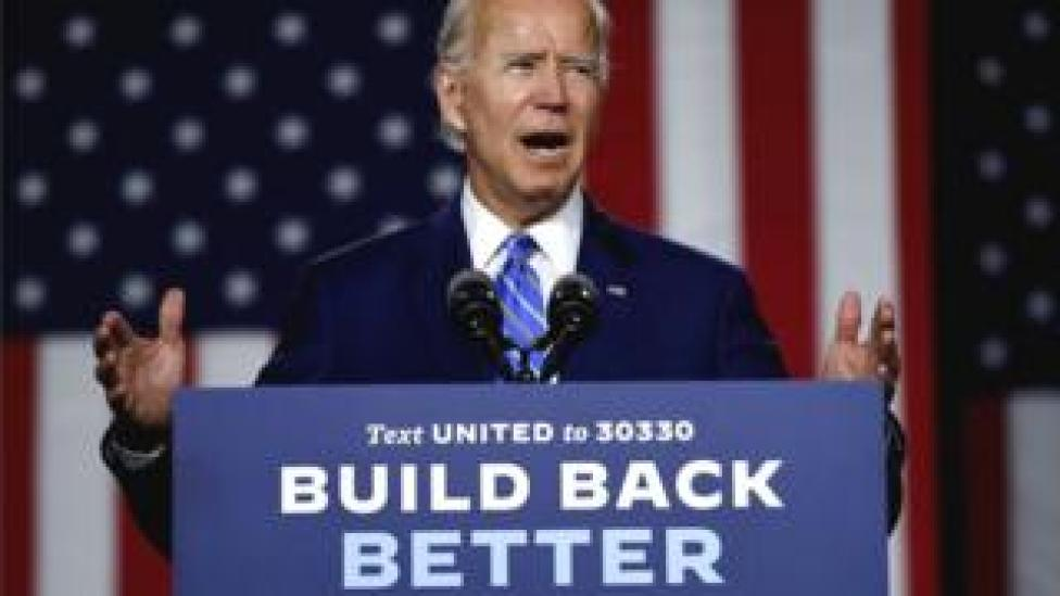 trump Democratic presidential candidate and former Vice-President Joe Biden speaks at a