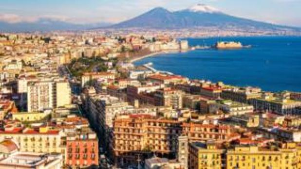 Aerial shot of Naples with Vesuvius in the background