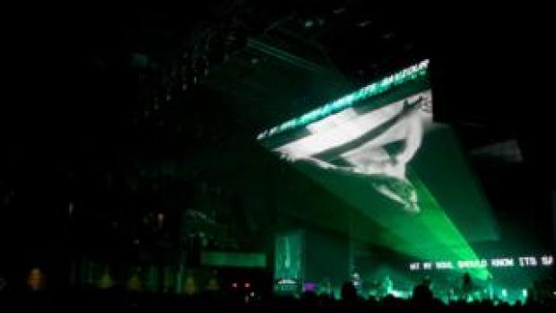 A CGI Jesus Christ is projected during Hillsong's performance
