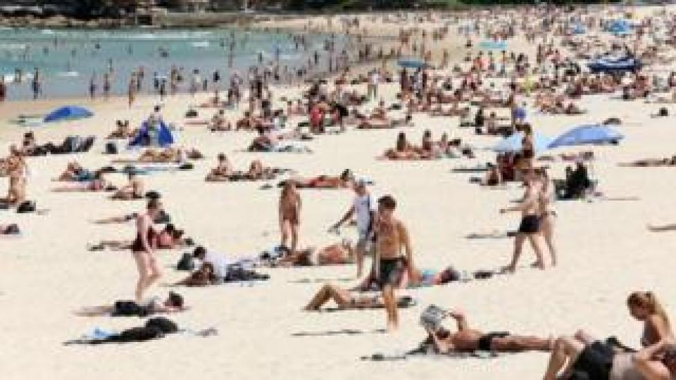 Crowds of people on Bondi Beach