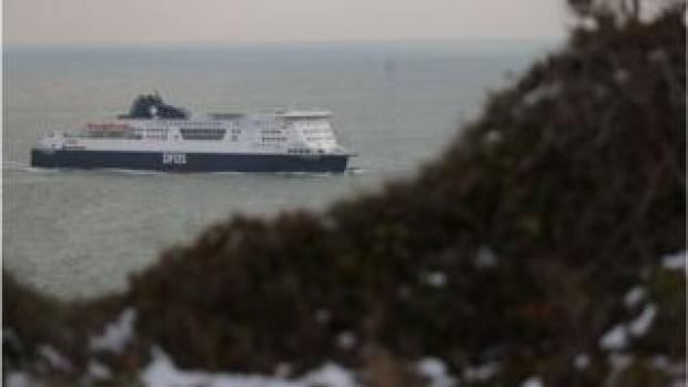 A cross-channel ferry arrives at the port of Dover
