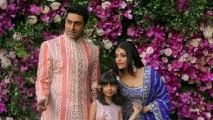 Abhishek, Aaradhya and Aishwarya Bachchan at a wedding