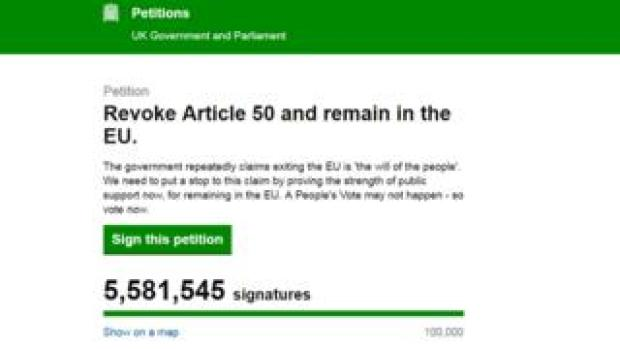 Screen grab of the Revoke Article 50 petition at 5.6m signatures