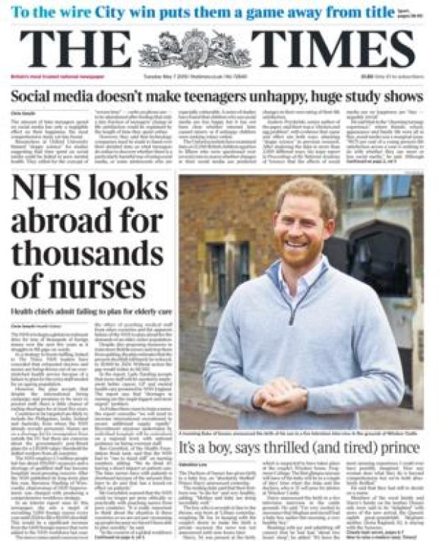 The Times front page 07/05/19