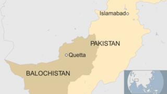 Map of Pakistan showing location of Quetta in south-western Balochistan state