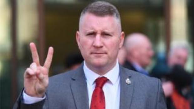 """Britain First leader Paul Golding outside Westminster Magistrates"""" Court, London, on 27 Feb"""