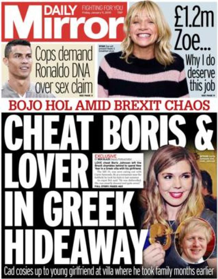 Daily Mirror front page, 11/1/19