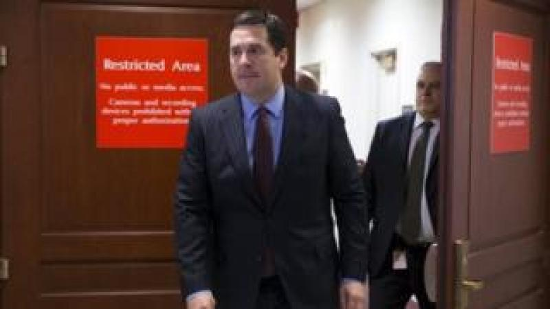 Chairman of the House Permanent Select Committee on Intelligence Devin Nunes walks out of a restricted area to a news conference on Capitol Hill in Washington.