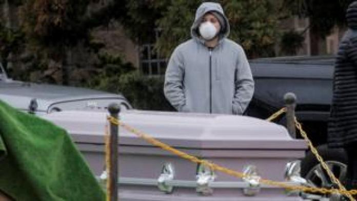 Mourners attend funeral at Green-Wood Cemetery, amid coronavirus disease in Brooklyn, New York