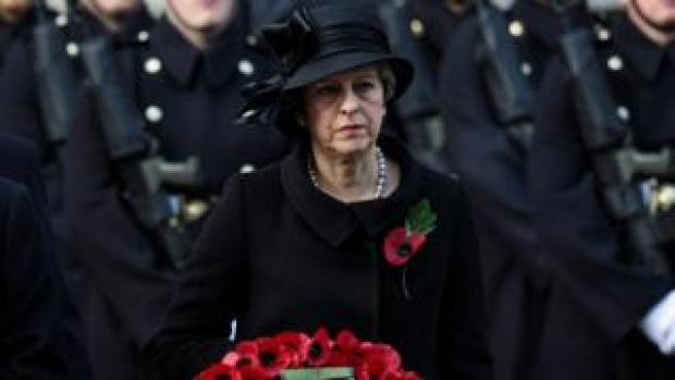Theresa May laying a wreath at the Cenotaph in November 2017