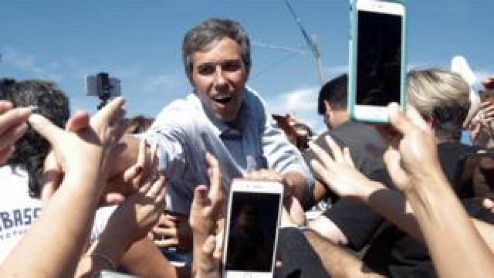 """U.S. Rep. Beto O""""Rourke (D-TX), candidate for U.S. Senate greets supporters at a campaign rally in Austin"""