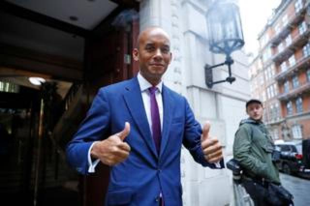Liberal Democrat MP Chuka Umunna gives a thumbs up as he leaves the Millbank broadcast studios near the Houses of Parliament in central London on September 24, 2019
