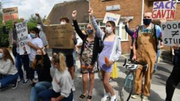 Students from Codsall Community High School protest outside the constituency office of their local MP, Education Secretary Gavin Williamson,