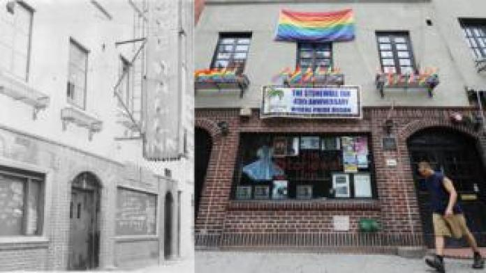 The Stonewall Inn, a week after the uprising and in 2009