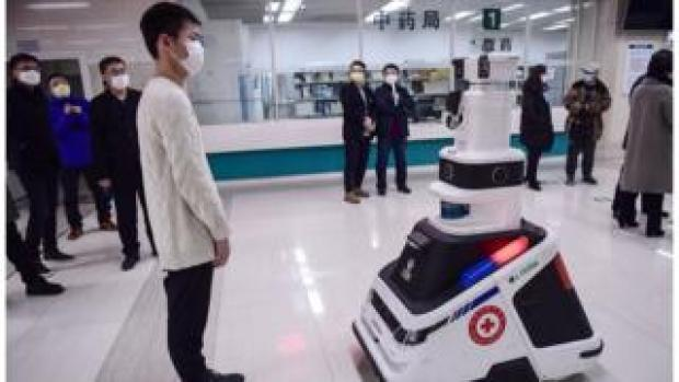 A robot on display at a hospital in China amid the virus outbreak