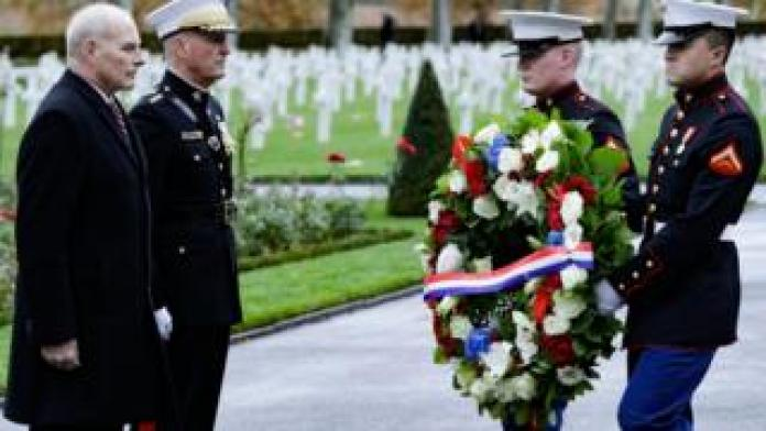 US General John Dunford (second left) and retired United States Marine Corps general John F Kelly White House Chief of Staff visit the Aisne-Marne American Cemetery and Memorial in Belleau, 10 November 2018