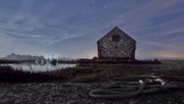 Thornham Staithe under moonlight