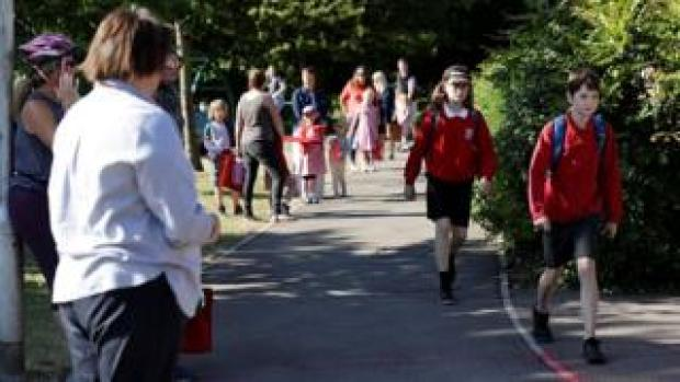 Parents and children arrive at Watlington Primary School