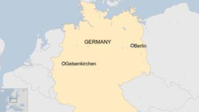 A map showing Gelsenkirchen