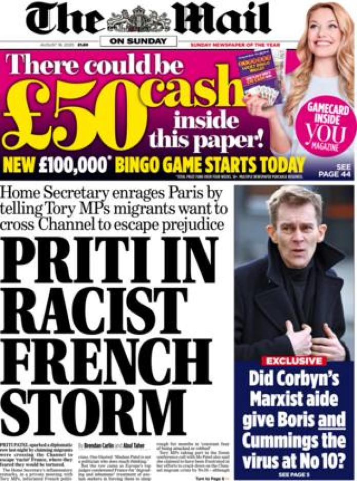 The front page of the Mail on Sunday August 16, 2020