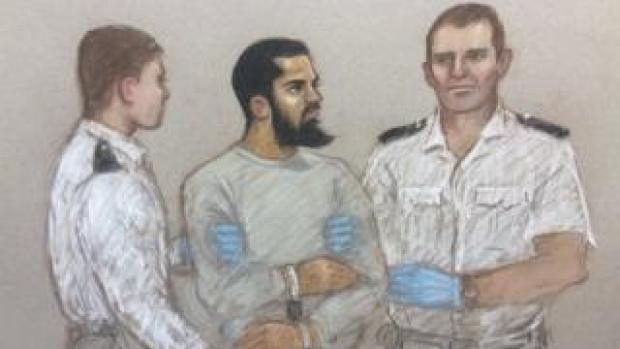 A sketch of Khalid Mohamed Omar Ali in court in May 2017