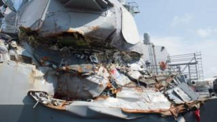 Guided-missile destroyer USS Fitzgerald undergoes repairs at Yokosuka after its June 17 collision with a merchant vessel