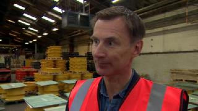 Jeremy Hunt speaking during a visit to a factory in Worcestershire