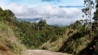 Highlands Highway running through rain forest at Tari, Papua New Guinea.