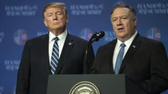 US Secretary of State Mike Pompeo speaks at a news conference while President Donald Trump looks on