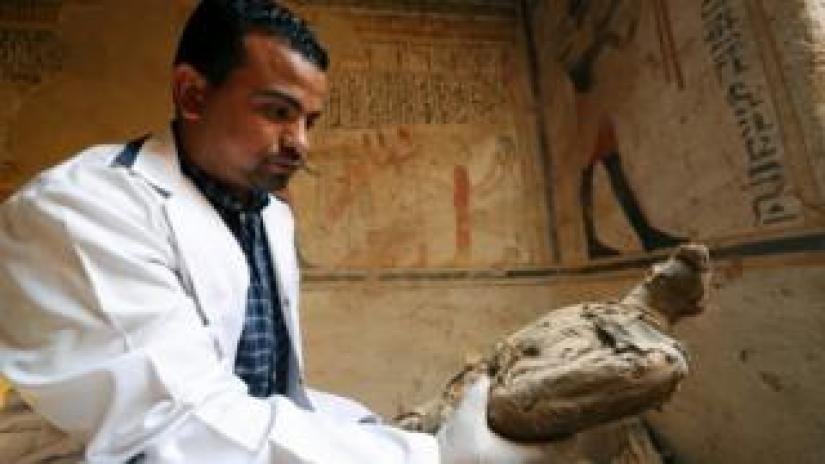 An archaeologist holding an ancient, mummified bird