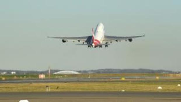 Qantas last 747 taking off from Sydney