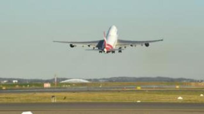 Qantas last 747 taking off from Sydney