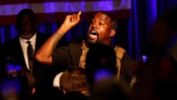 Kanye West at his first presidential rally
