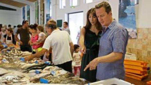 David and Samantha Cameron on holiday in Aljezur, in the southwestern coast of Portugal, on July 26, 2013