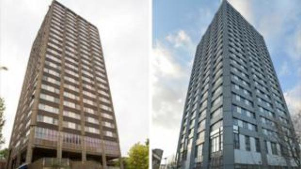 The tower before (l) and after refurbishment