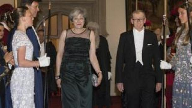 Theresa May and her husband Philip arrive at Lord Mayor's Banquet