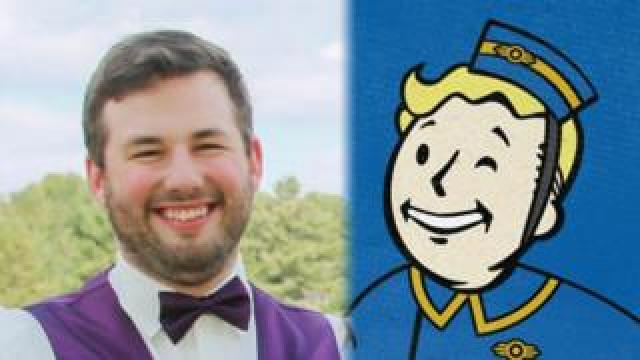 A composite image. On the left is David Chapman, he is smiling. On the right is the mascot of the Fallout series, also smiling.