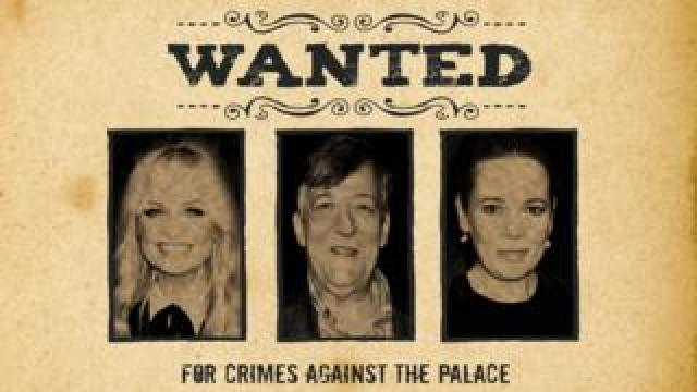 Wanted poster featuring Emma Bunton, Stephen Fry and Olivia Colman