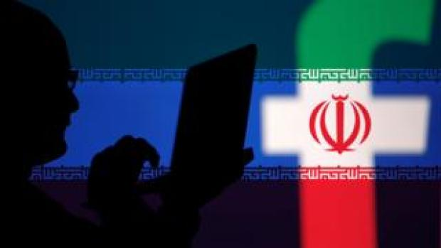 Iran flag over Facebook logo