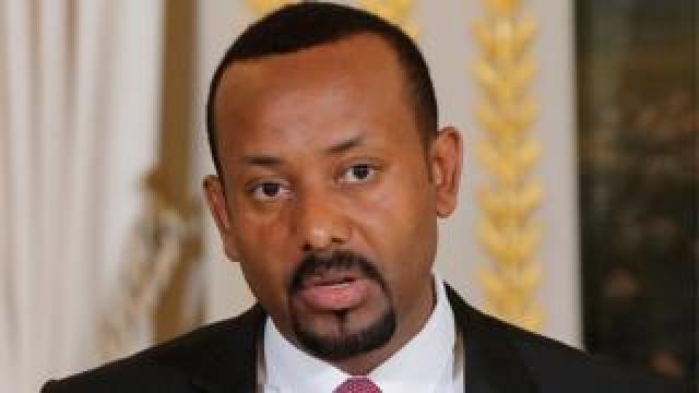 Ethiopian Prime Minister Abiy Ahmed speaks during a media conference at the Elysee Palace in Paris, France, October 29, 2018