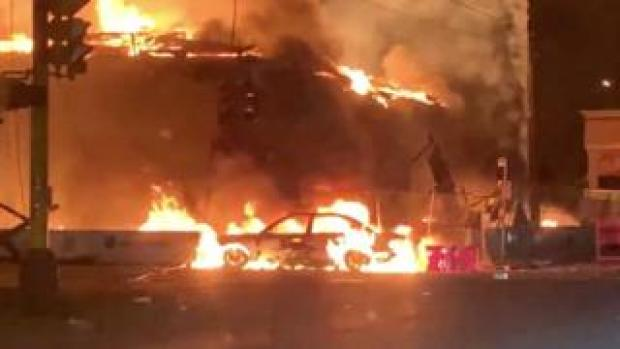 AutoZone in Minneapolis on fire during protests