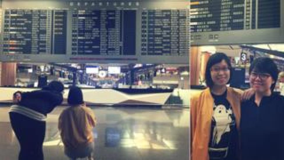 Eileen Lim and Nicole Lee at Changi Airport Terminal 2