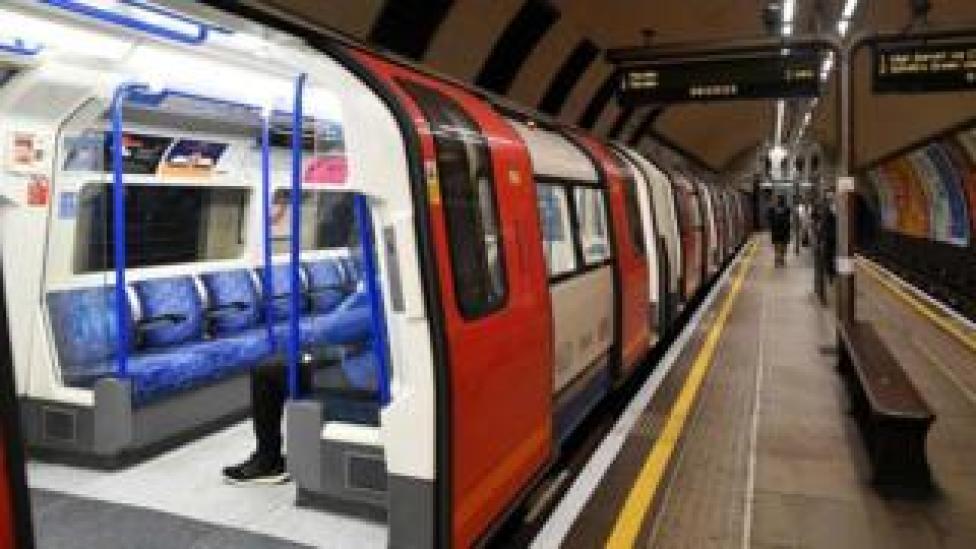 An empty tube train at Clapham North, London