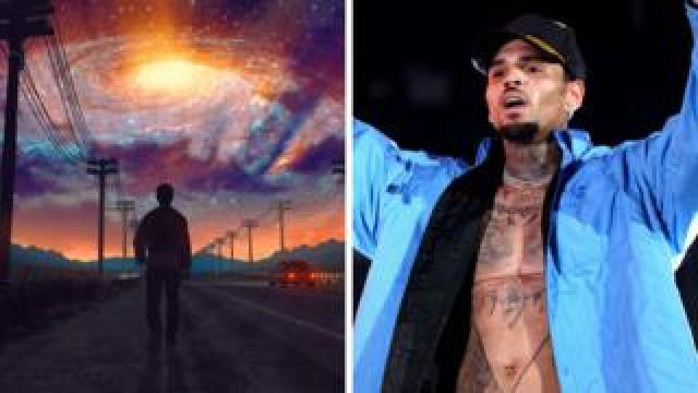 A still from Don Mupasi's video, and Chris Brown on stage, side-by-side