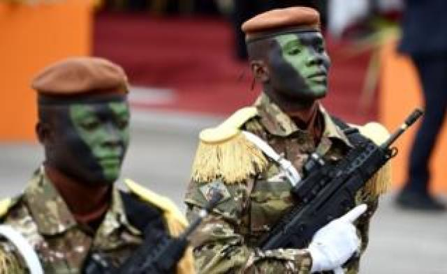 Soldiers of the Ivorian Special Forces parade during celebrations in Abidjan marking the 58th anniversary of Ivory Coast's independence from France - Tuesday 7 August 2018