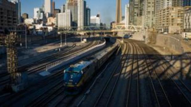 A VIA Rail train leaves Toronto's Union Station.