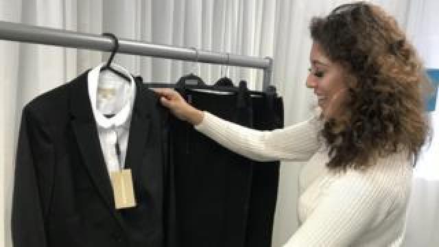 Saarah with her Burberry suit