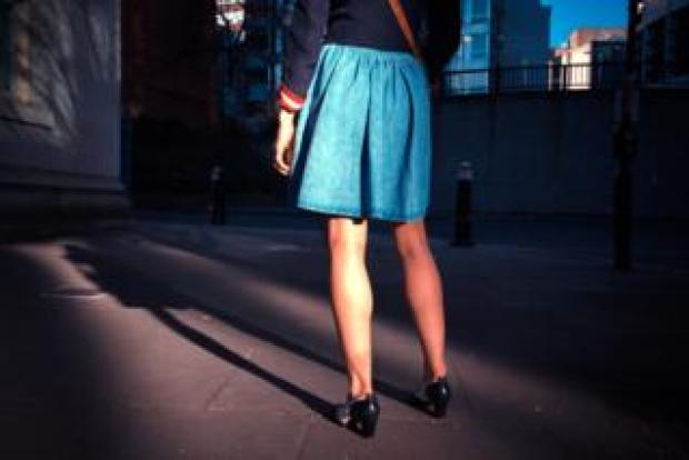 woman in skirt