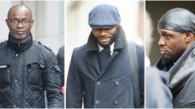 (left to right) ex-rugby player Bright Sodje and ex-footballers Stephen Sodje and Efe Sodje,